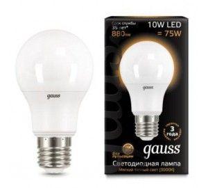 Лампочка LED A60 10W E27 3000K 1/10/50 102502110
