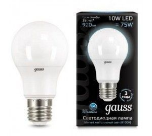 Лампочка LED A60 10W E27 4100K 1/10/50 102502210