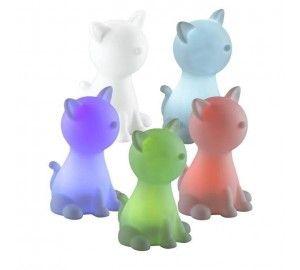 Детский ночник кошка светодиодный RGB настольный с выключателем на батарейках Night Light 357338